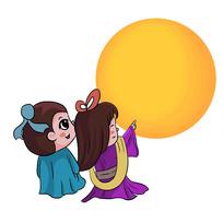 卡通牛郎织女七夕情人节元素