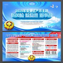 蓝色高档安全生产月主题宣传展板