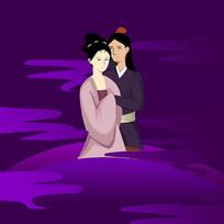 手绘创意牛郎织女七夕情人节元素