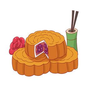 手绘月饼传统中秋节创意插画元素