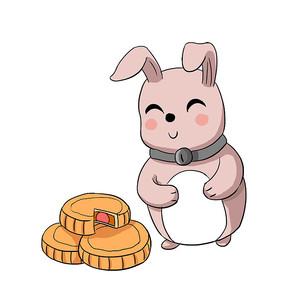 手绘月兔和月饼中秋节创意插画元素