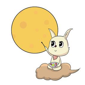手绘月兔绘画月亮中秋节创意插画元素