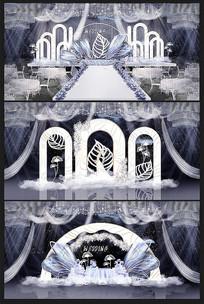 白色欧式婚礼背景效果图