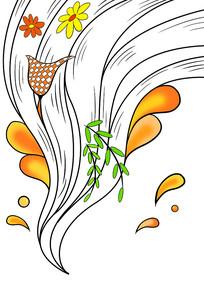 创意动感黑色线条花纹插画