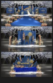 蓝色欧式婚礼背景效果图