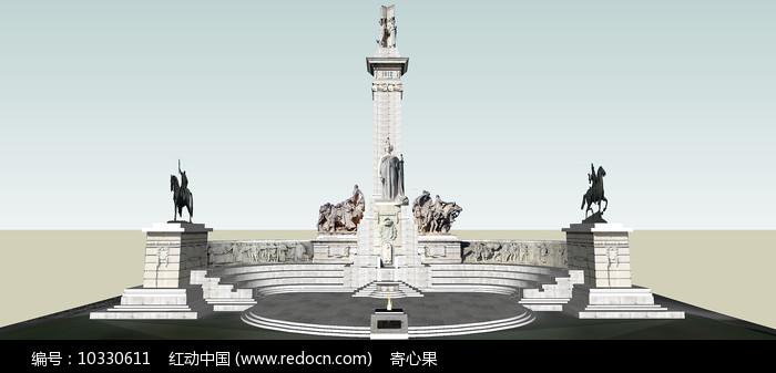 欧式雕塑露台景观SU模型图片