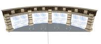 欧式弧形喷泉景墙SU模型