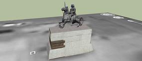 欧式骑马雕塑SU模型