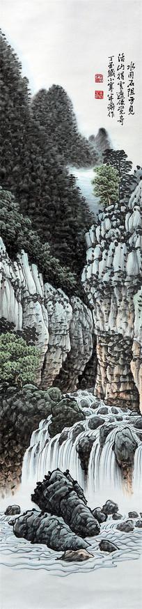 水墨瀑布竖条装饰画