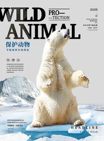 保护野生动物北极熊创意海报