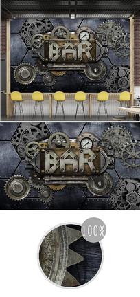 复古怀旧齿轮字母3d背景墙
