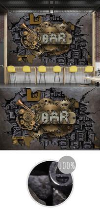 复古旧金属齿轮字母3d背景墙