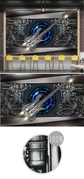 復古金屬風機械吉他3d背景墻