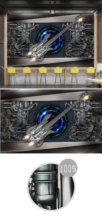 复古金属风机械吉他3d背景墙