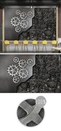 复古金属铁皮齿轮3d背景墙