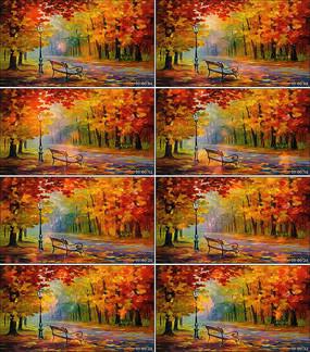 秋天油画创意视频公园舞台背景视频素材