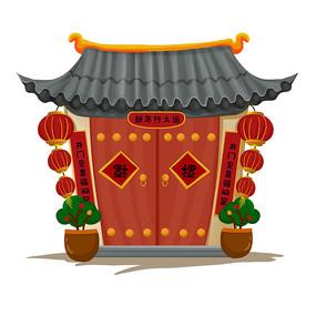 中式建筑新年门口装饰