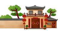 中式宅院原创插画