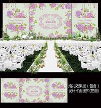 粉紫色花卉田园风婚礼背景板