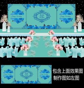 蓝色花卉蒂芙尼婚礼背景板设计