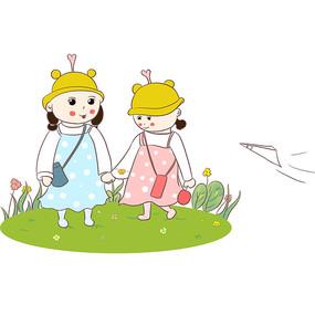 原创手绘卡通小女生幼儿园招生儿童节元素