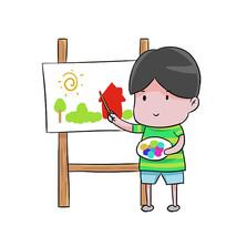 卡通男孩幼儿园英语美术培训班辅导班元素