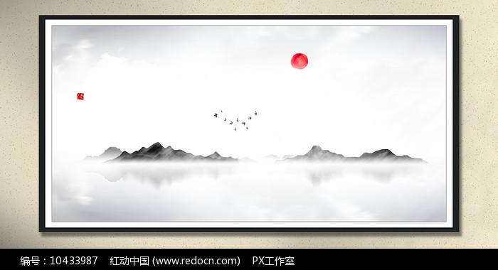墨韵水墨画中堂画图片