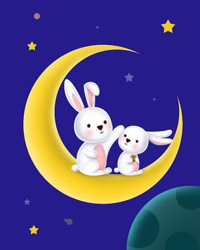 八月十五中秋节月亮上的小白兔子素材