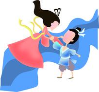 卡通创意浪漫七夕牛郎织女情人节元素