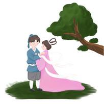 原创手绘浪漫七夕牛郎织女情人节元素