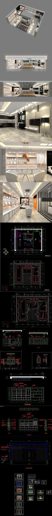 全套照明展厅CAD施工图 效果图
