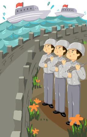 手绘拿枪的部队保家卫国八一建军节元素