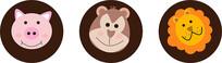 猴子 猪 狮子头像设计