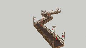 农家乐防腐木曲桥