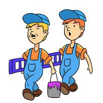 手绘卡通工人人物装修公司安全生产元素