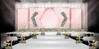 粉色主题婚礼背景板