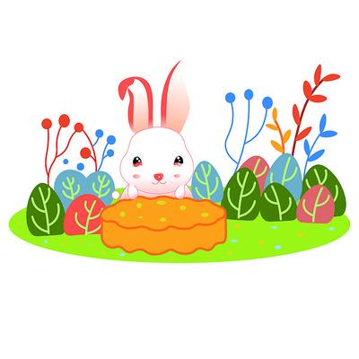 唯美创意卡通可爱兔子吃月饼中秋节插画元素