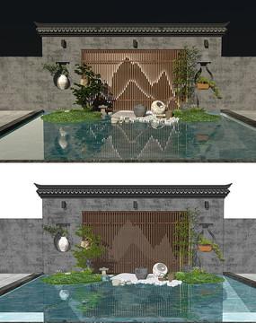中式景观墙背景墙