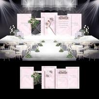 白粉色大理石纹婚礼婚庆背景板