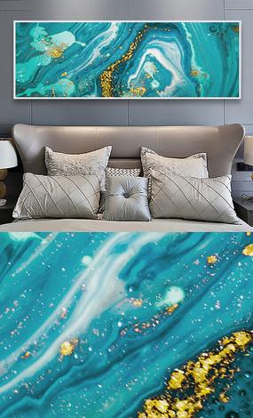 北欧抽象蓝色流彩创意晶瓷画床头卧室装饰画