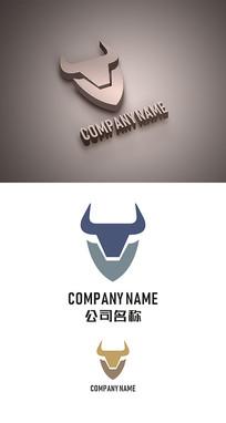抽象牛标志LOGO设计