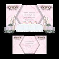 浅粉色大理石纹婚礼婚庆布置喷绘背景