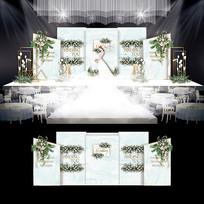 小清新大理石纹婚礼婚庆布置背景板