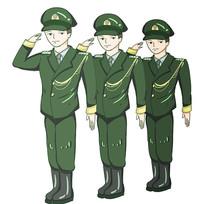 原创手绘敬礼的军人警察插画元素
