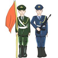 原创手手握红旗的军人警察部队插画元素