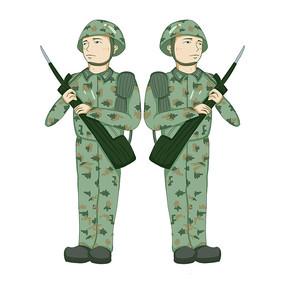 原创手手握枪的军人警察部队插画元素