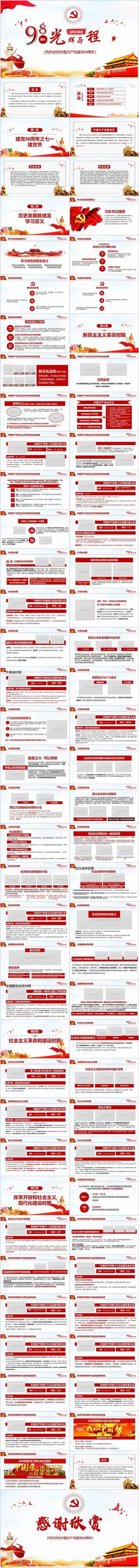 七一建党节98周年党的光辉历程PPT模板