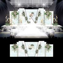 小清新梦幻水彩婚礼效果图设计婚庆背景布置