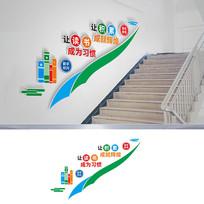 校园阅读阅览室楼梯文化墙