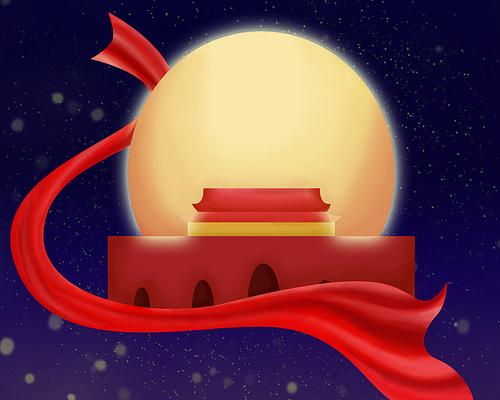 原创元素手绘国庆飘带类似天安门城楼